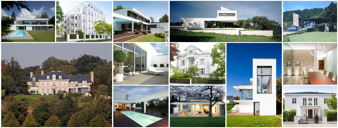 german-property - the picture is a collage of representative and modern residential buildings and villas in Germany
