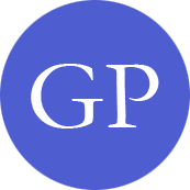 the picture shows the favicon of the website german-property, which is a blue circle with the white capital letters G and P in the middle