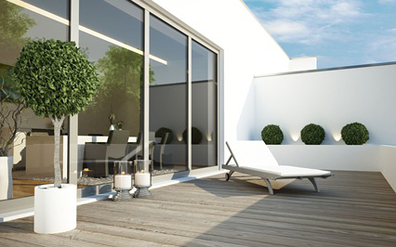 german-property - the picture shows the terrace of a modern and stylish apartment